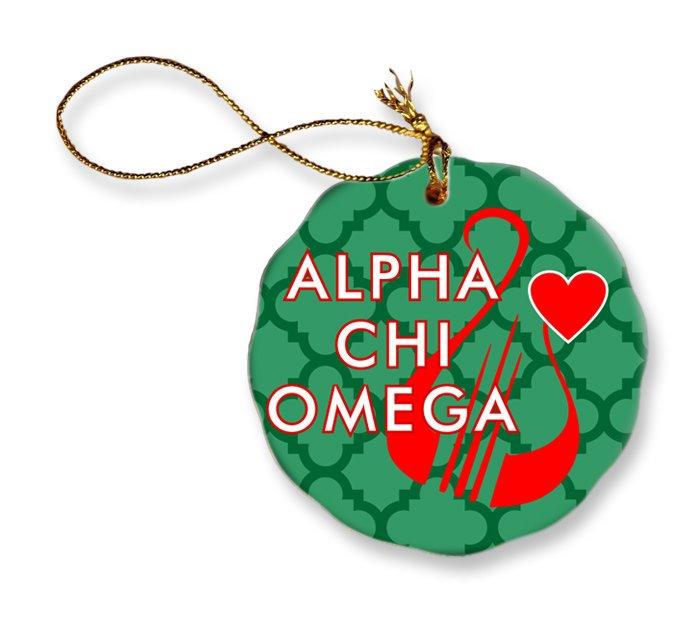 Alpha Chi Omega Porcelain Ornament Snowball