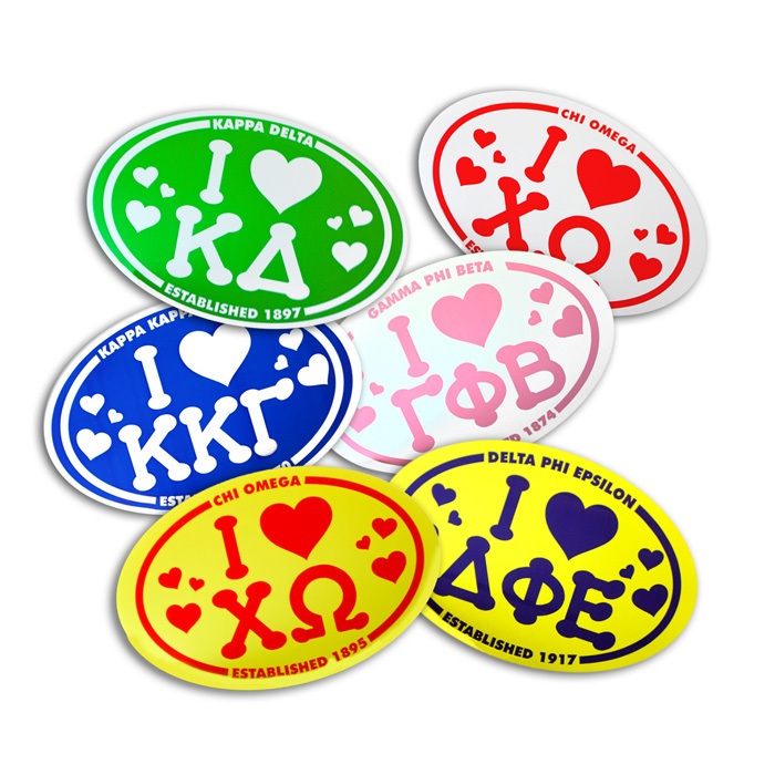 I Love Sorority Sticker - Oval