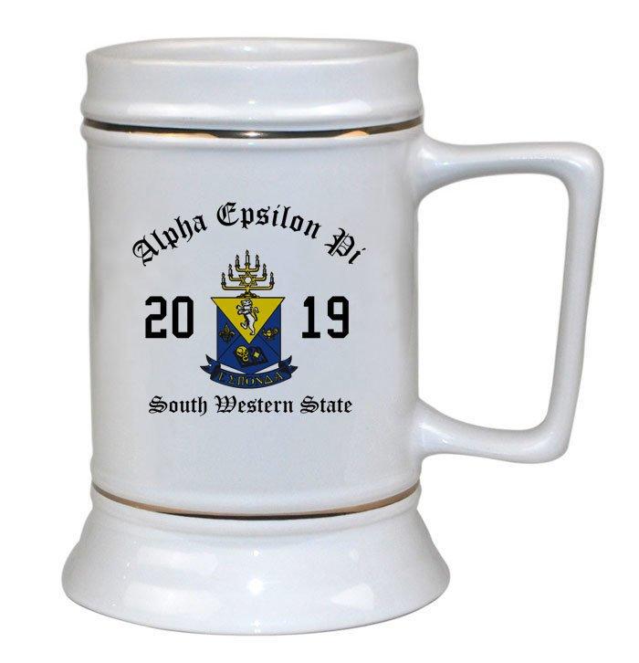 Alpha Epsilon Pi Ceramic Crest & Year Ceramic Stein Tankard - 28 ozs!