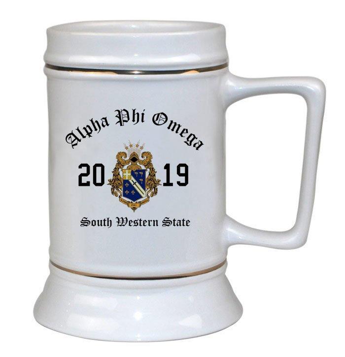 Alpha Phi Omega Ceramic Crest & Year Ceramic Stein Tankard - 28 ozs!