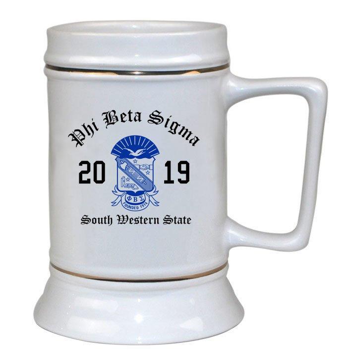 Phi Beta Sigma Ceramic Crest & Year Ceramic Stein Tankard - 28 ozs!