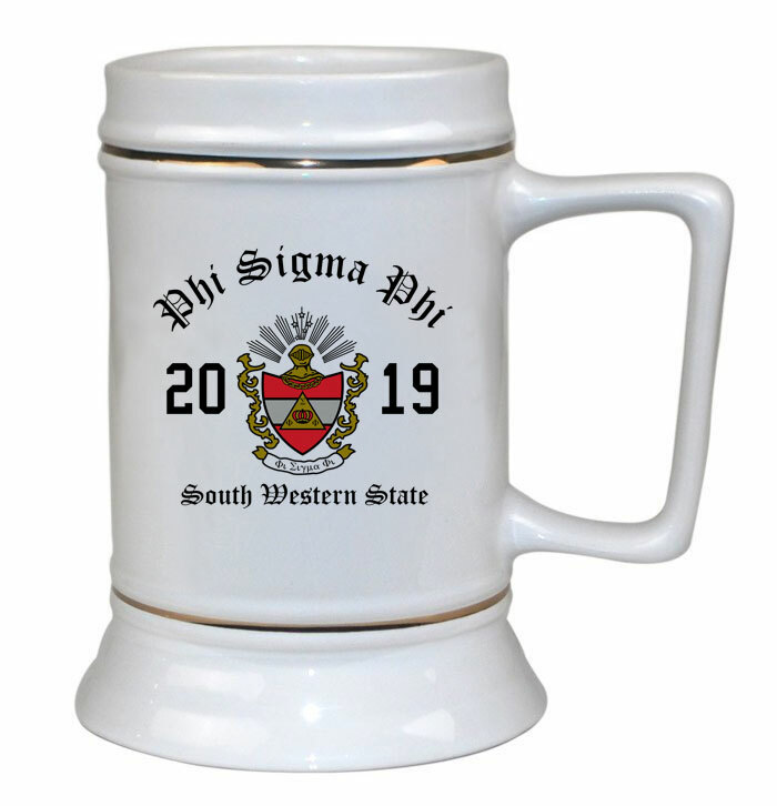 Phi Sigma Phi Ceramic Crest & Year Ceramic Stein Tankard - 28 ozs!
