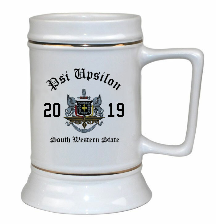 Psi Upsilon Ceramic Crest & Year Ceramic Stein Tankard - 28 ozs!