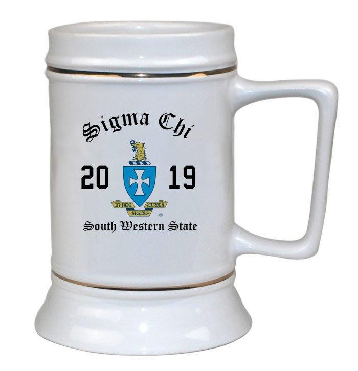 Sigma Chi Ceramic Crest & Year Ceramic Stein Tankard - 28 ozs!
