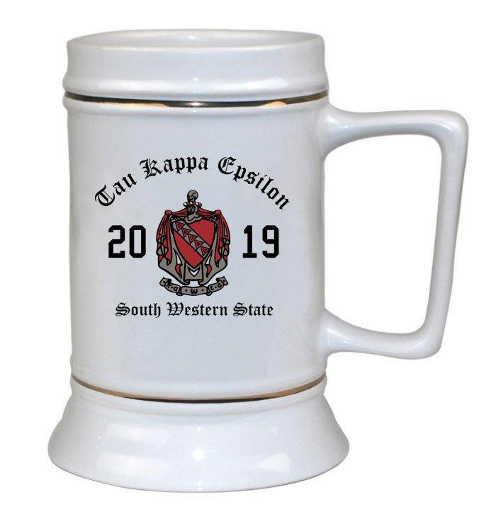 Tau Kappa Epsilon Ceramic Crest & Year Ceramic Stein Tankard - 28 ozs!