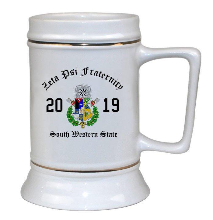 Zeta Psi Ceramic Crest & Year Ceramic Stein Tankard - 28 ozs!