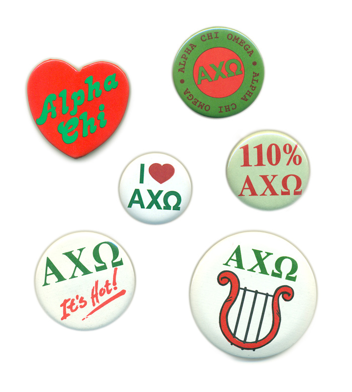 Alpha Chi Omega Sorority Buttons 6-Pack