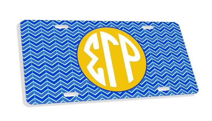 Sigma Gamma Rho Monogram License Plate