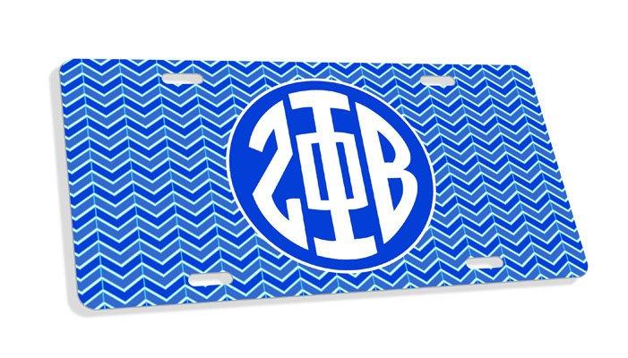 Zeta Phi Beta Monogram License Plate