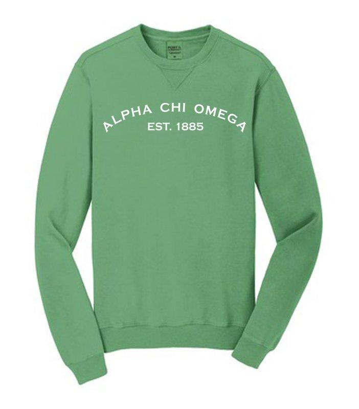 Alpha Chi Omega Pigment Dyed Crewneck Sweatshirt
