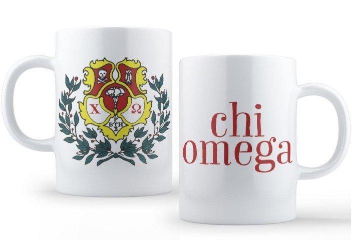 Chi Omega Crest - Shield Coffee Mug SALE $13 99  - Greek Gear®
