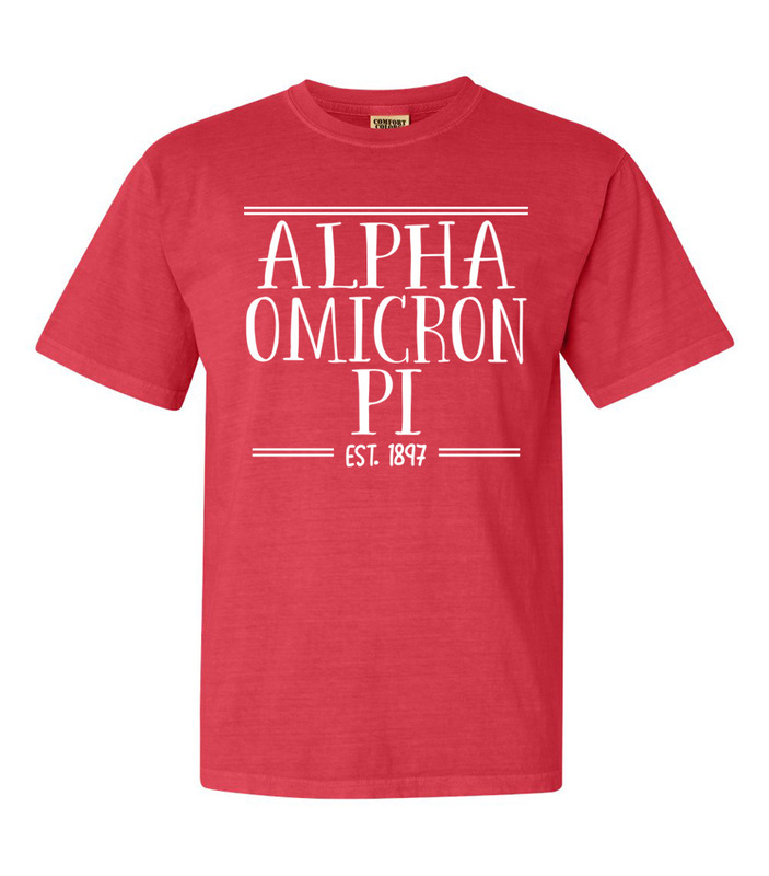 Alpha Omicron Pi Comfort Colors Custom Heavyweight T-Shirt