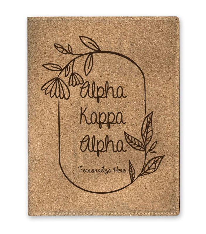 Alpha Kappa Alpha Cork Portfolio with Notepad
