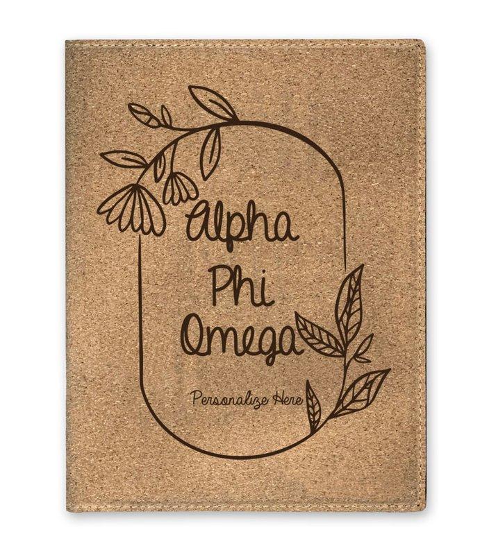Alpha Phi Omega Cork Portfolio with Notepad