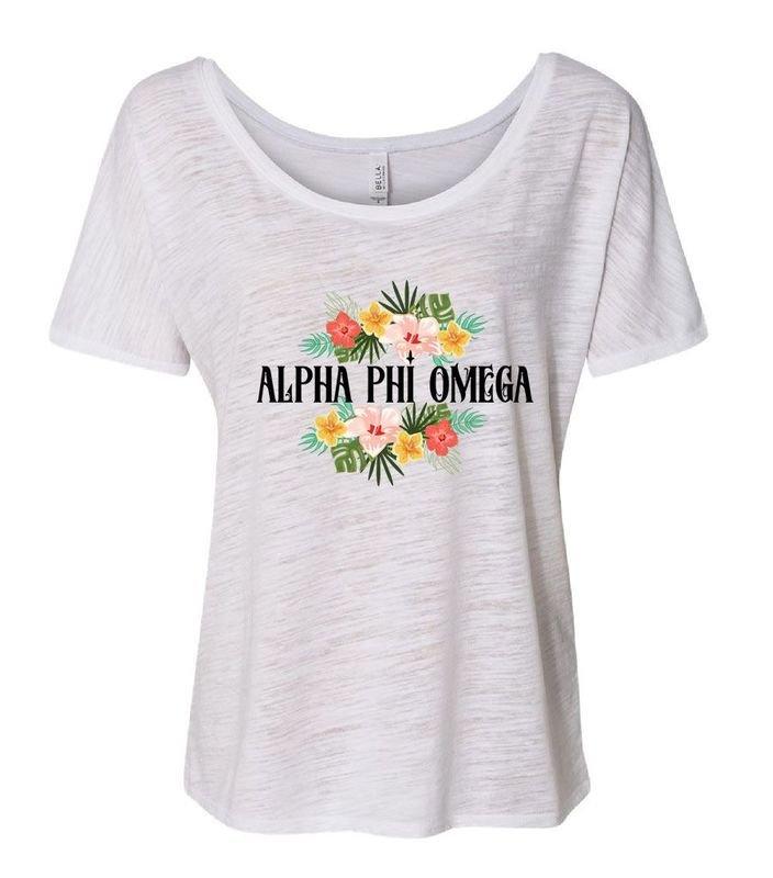 Alpha Phi Omega Floral Tribal Slouchy Tee