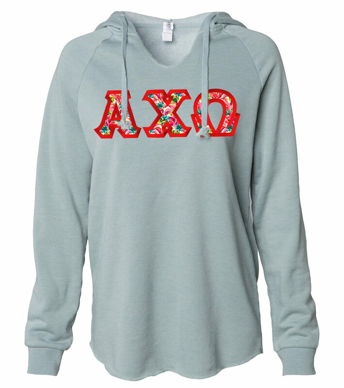 Alpha Chi Omega Lightweight California Wavewash Hooded Pullover Sweatshirt