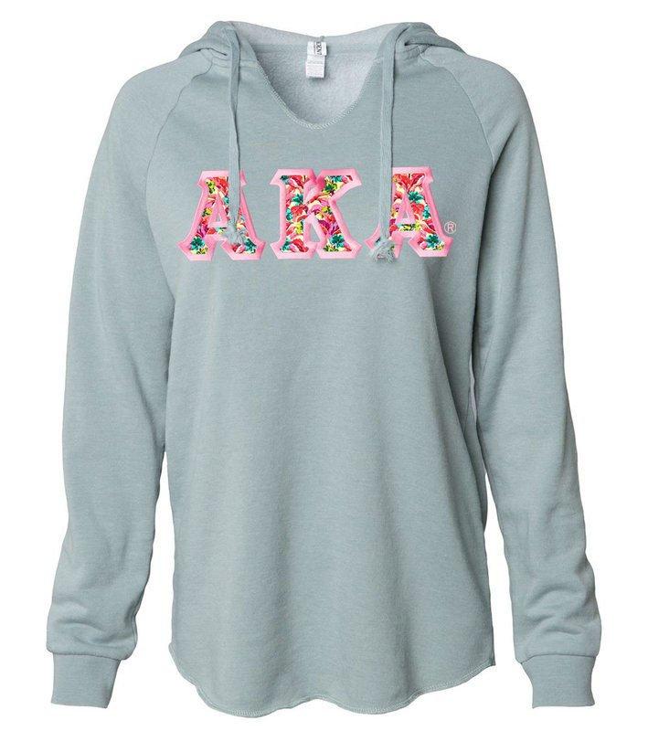 Alpha Kappa Alpha Lightweight California Wavewash Hooded Pullover Sweatshirt
