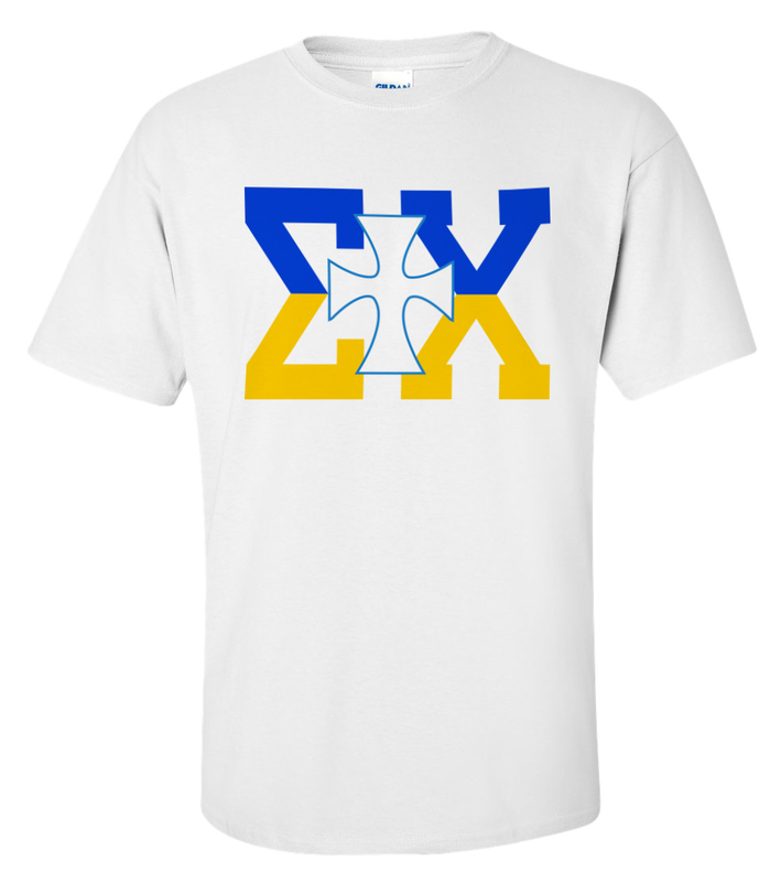 Sigma Chi Lettered Cross T-shirts