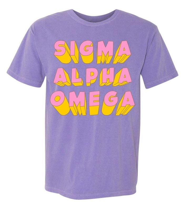 Sigma Alpha Omega 3Delightful Tee - Comfort Colors