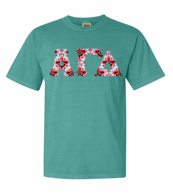 Alpha Gamma Delta Comfort Colors Lettered Greek Short Sleeve T-Shirt