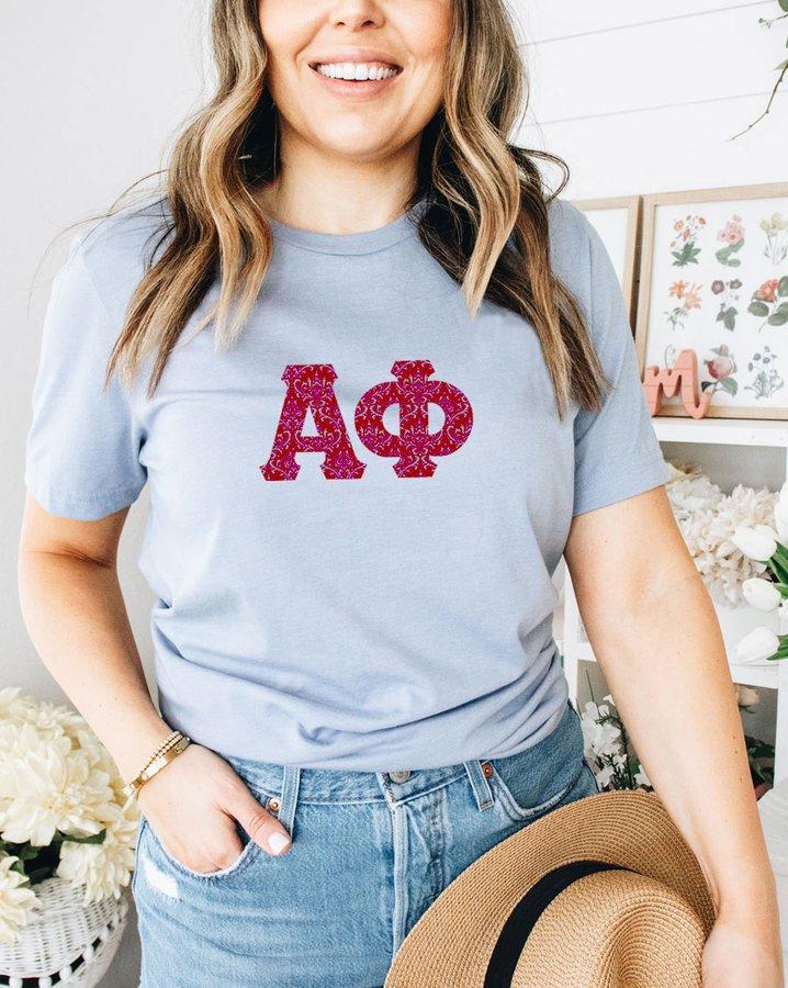 Alpha Phi Comfort Colors Lettered Greek Short Sleeve T-Shirt