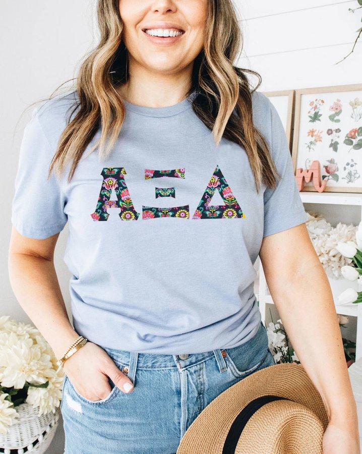 Alpha Xi Delta Comfort Colors Lettered Greek Short Sleeve T-Shirt