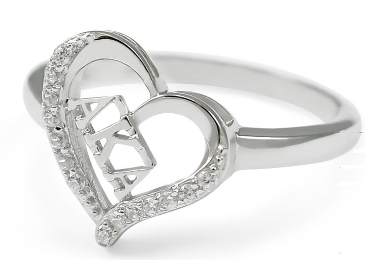 AKA Sterling Silver Heart Ring set with Lab-Created Diamonds