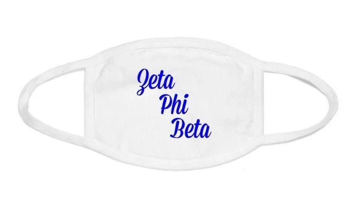 Zeta Phi Beta Script Face Mask