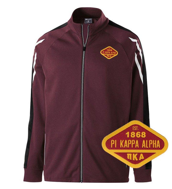 DISCOUNT-Pi Kappa Alpha Woven Emblem Greek Flux Track Jacket