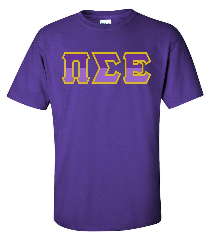 Pi Sigma Epsilon Two Tone Greek Lettered T-Shirt