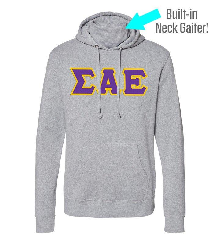 Sigma Alpha Epsilon Lettered Gaiter Fleece Hooded Sweatshirt