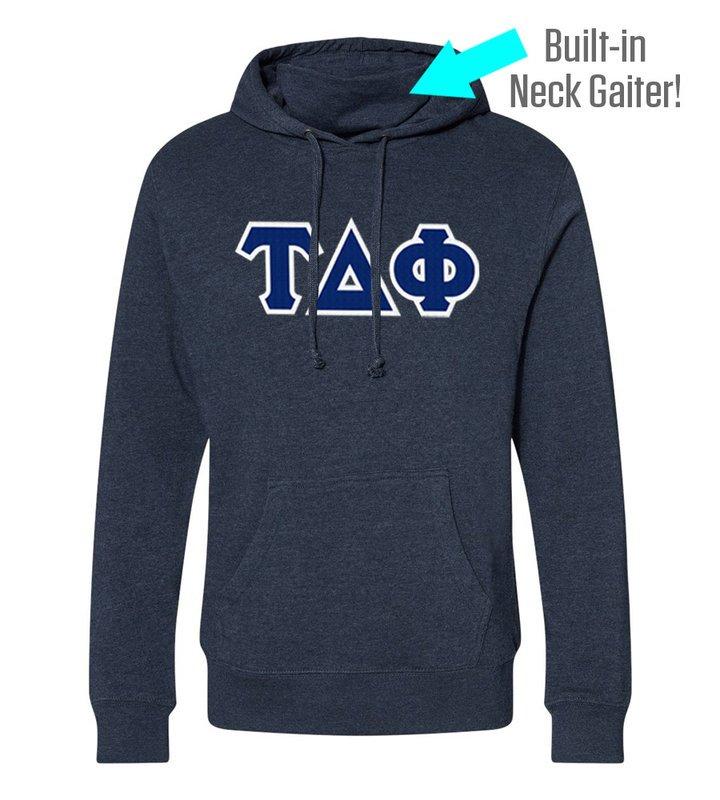 Tau Delta Phi Lettered Gaiter Fleece Hooded Sweatshirt