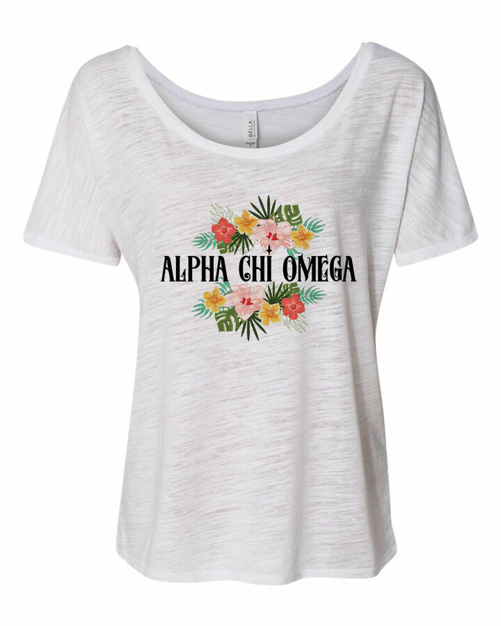 Alpha Chi Omega Floral Tribal Slouchy Tee