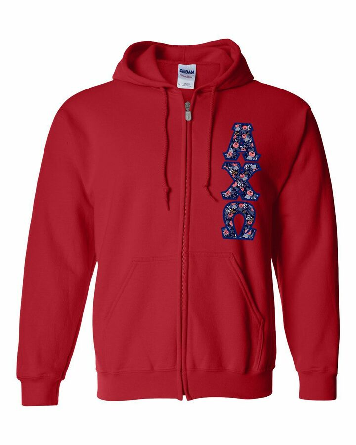 "Alpha Chi Omega Lettered Heavy Full-Zip Hooded Sweatshirt (3"" Letters)"
