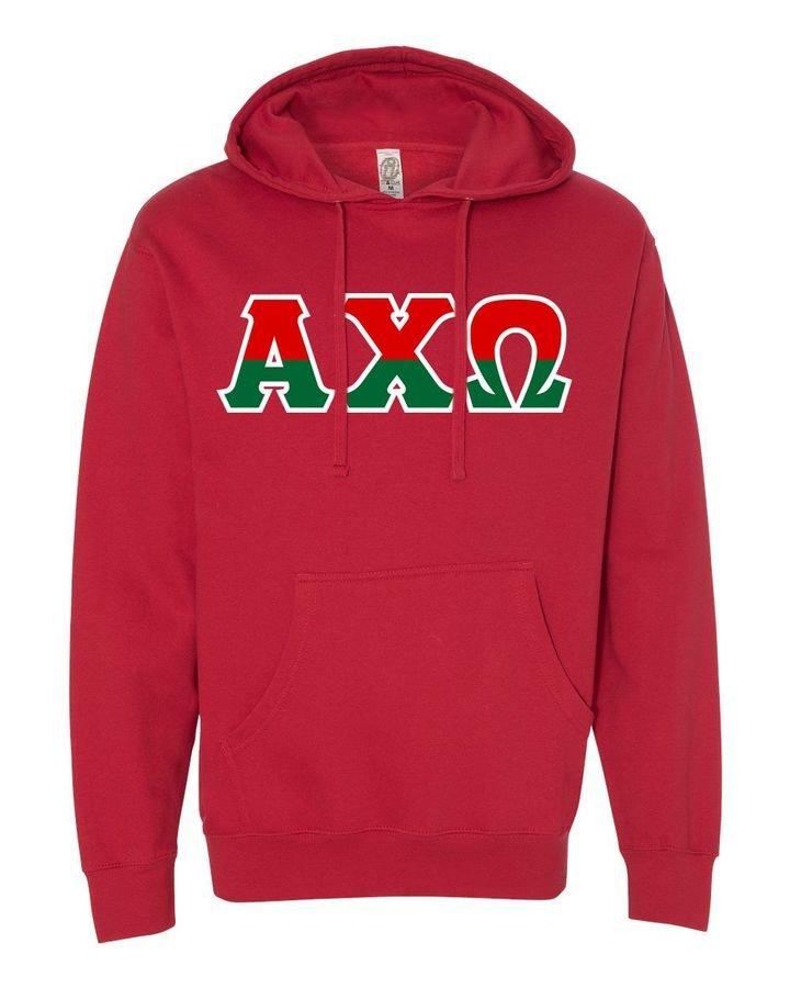 Alpha Chi Omega Two Tone Greek Lettered Hooded Sweatshirt