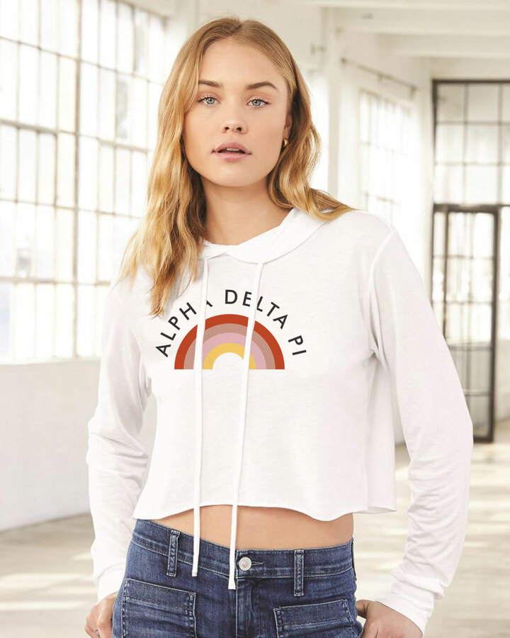 Alpha Delta Pi Triblend Cropped Long Sleeve Rainbow Hoodie