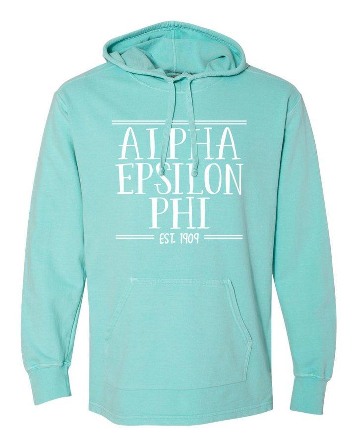 Alpha Epsilon Phi Comfort Colors Terry Scuba Neck Custom Hooded Pullover