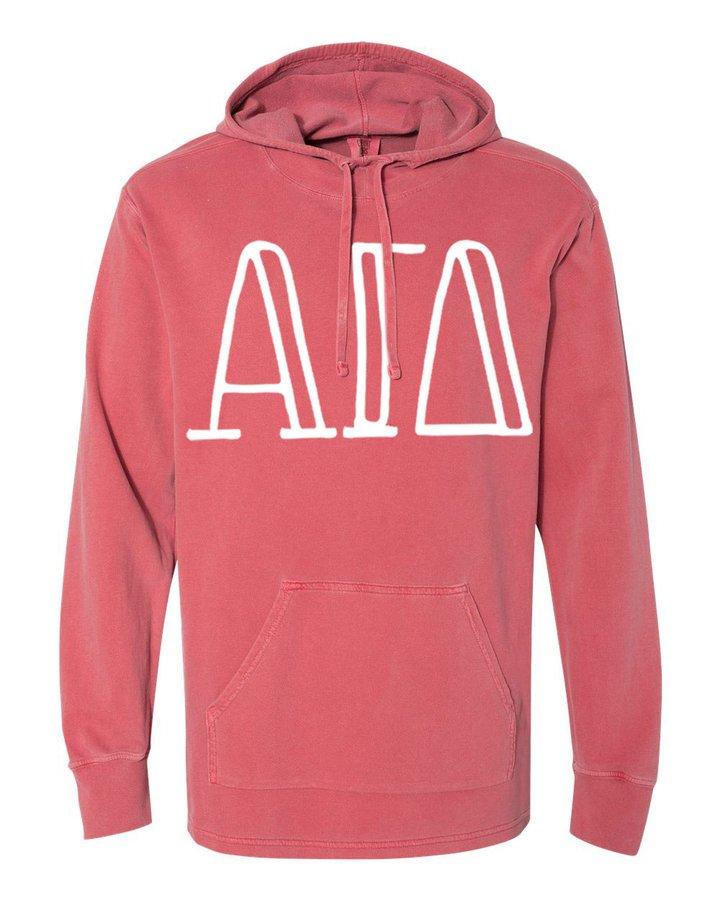 Alpha Gamma Delta Comfort Colors - Terry Scuba Neck Greek Hooded Pullover