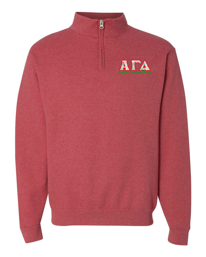 Alpha Gamma Delta Twill Greek Lettered Quarter zip