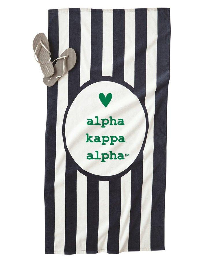 Alpha Kappa Alpha Striped Beach Towel