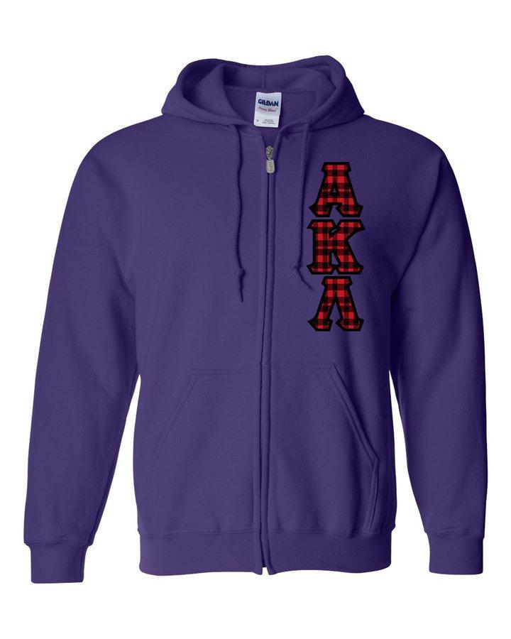 """Alpha Kappa Lambda Heavy Full-Zip Hooded Sweatshirt - 3"""" Letters!"""