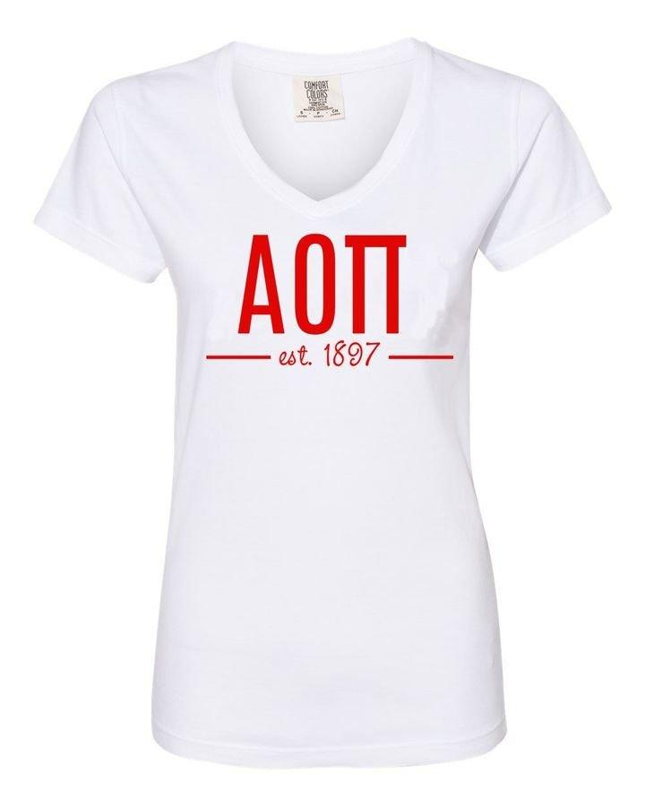 Alpha Omicron Pi Comfort Colors Custom V-Neck T-Shirt