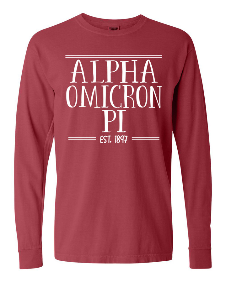 Alpha Omicron Pi Comfort Colors Custom Long Sleeve T-Shirt