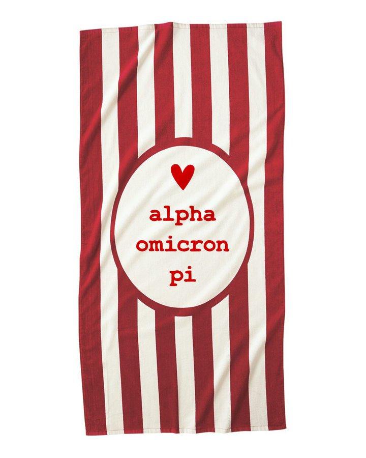 Alpha Omicron Pi Striped Beach Towel