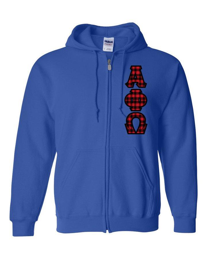 "Alpha Phi Omega Heavy Full-Zip Hooded Sweatshirt - 3"" Letters!"