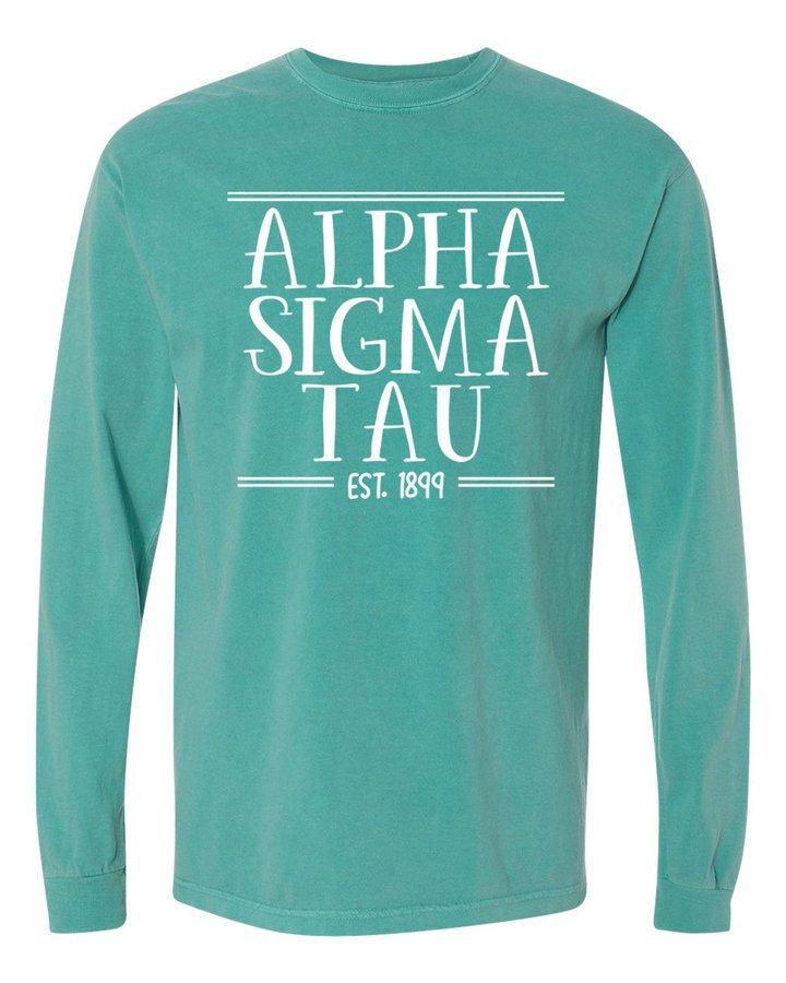 Alpha Sigma Tau Comfort Colors Custom Long Sleeve T-Shirt
