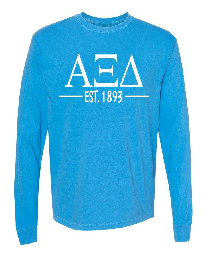 Alpha Xi Delta Custom Greek Lettered Long Sleeve T-Shirt - Comfort Colors