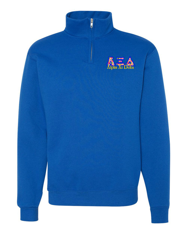 Alpha Xi Delta Twill Greek Lettered Quarter zip