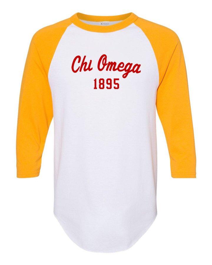 Chi Omega Script Established Raglan