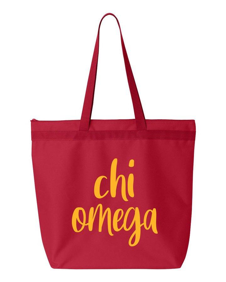 Chi Omega Script Tote Bag